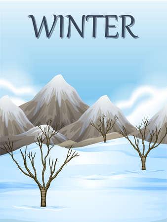 winter scene: Nature scene in winter illustration
