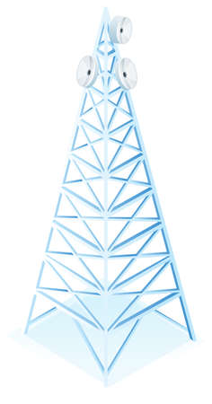 energy picture: Power tower with three satellite dish illustration