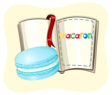 macaron: Blue macaron and a book illustration