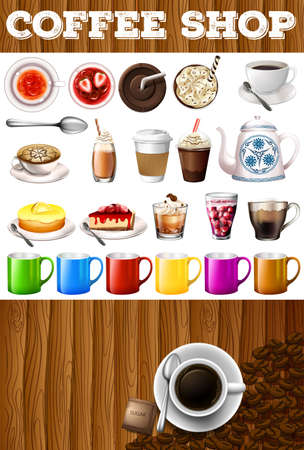 coffee background: Different kind of drinks and desserts in coffee shop illustration