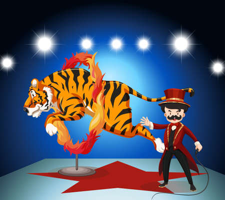 leaping: Tiger jumping through ring of fire illustration Illustration