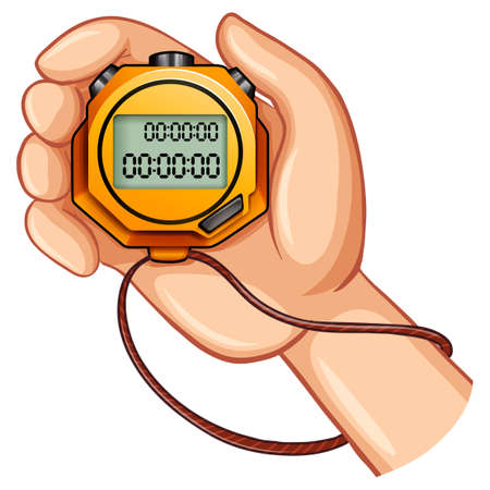 second hand: Stopwatch in the hand illustration Illustration
