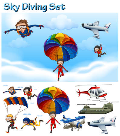sky diving: Sky diving set with people and equipment illustration Illustration