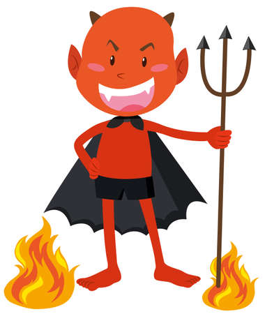devil horns: Devil with horns holding trident illustration