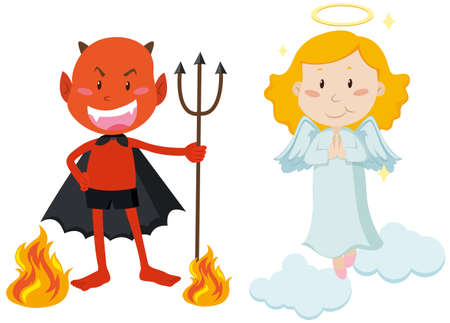 good and bad: Devil with trident and angel flying illustration Illustration