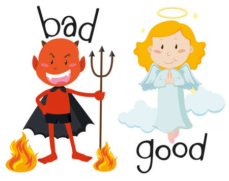 good and bad: Opposite adjectives good and bad illustration