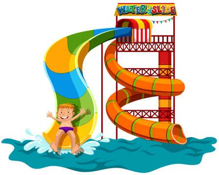 水のスライドの図の上を滑る男  イラスト・ベクター素材