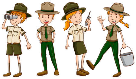 Park Ranger in brauner Uniform Illustration