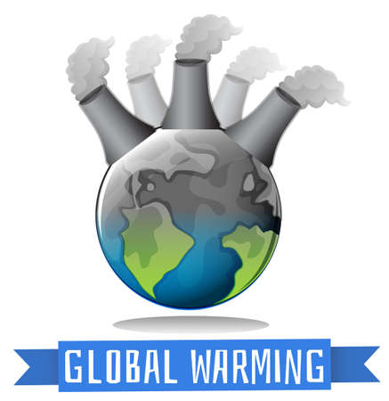 greenhouse effect: Global warming theme with earth and factory illustration Illustration