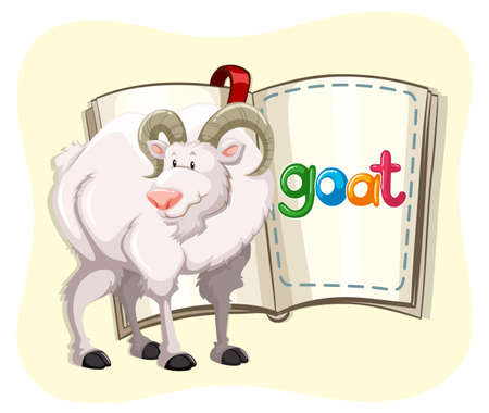 white fur: Goat with white fur and a book illustration