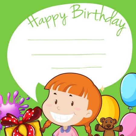 birthday party kids: Border design with girl on birthday illustration
