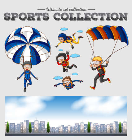 parachute jump: People doing sky diving illustration