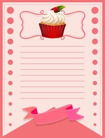 rasberry: Paper design with rasberry cupcake illustration Illustration