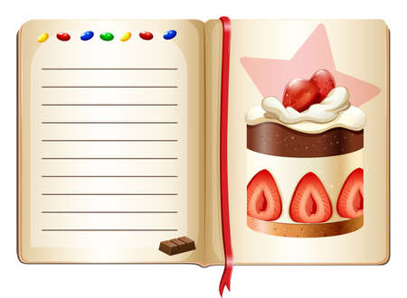 strawberry cake: Notebook and strawberry cake illustration