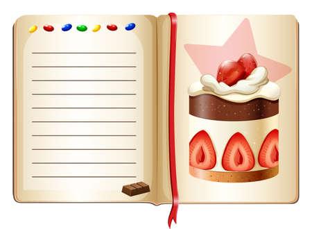 layout strawberry: Notebook and strawberry cake illustration