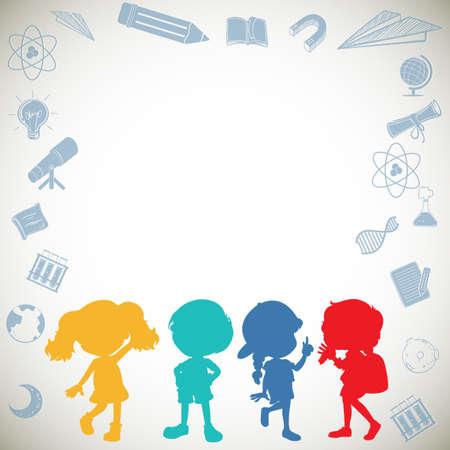 niños estudiando: diseño de la frontera con los niños y los iconos de la escuela ilustración