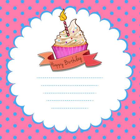 cupcake illustration: Border design with pink cupcake illustration Illustration