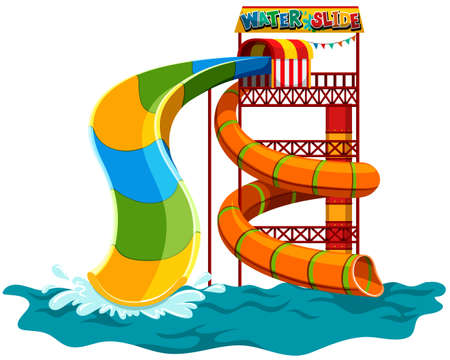 Water slide at the park illustration