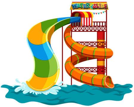water slide: Water slide at the park illustration