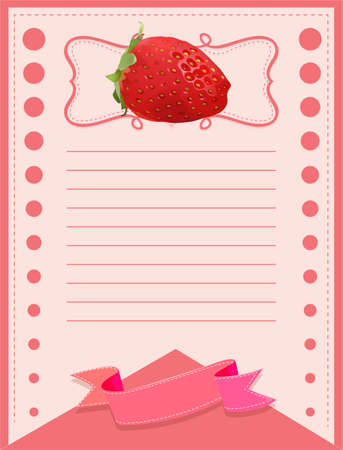 layout strawberry: Paper design with fresh strawberry illustration Illustration