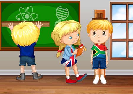children writing: Children writing on board in classroom illustration