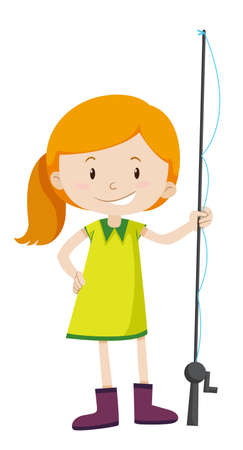 Little girl with fishing pole illustration Illustration