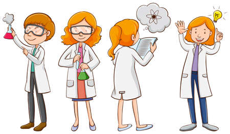 Male and female scientists illustration Illustration