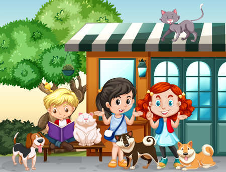 dogs playing: Children playing with cats and dogs illustration Illustration