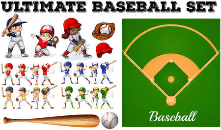 cartoon kid: Children in baseball team and field illustration Illustration