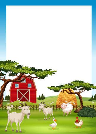 animal farm duck: Border design with farm animals illustration