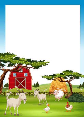 granja caricatura: diseño de la frontera con animales de granja ilustración Vectores