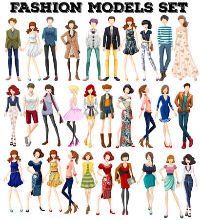 people   lifestyle: Man and woman in fashionable clothing illustration