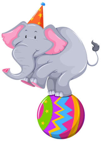 circus elephant: Happy elephant balancing on ball illustration