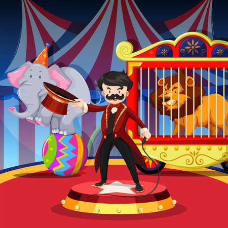 show ring: Ring master with animal show at circus illustration