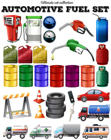 multiple objects: Different transportation and petrol illustration