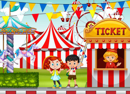 circus ticket: Children at the circus ticket booth illustration