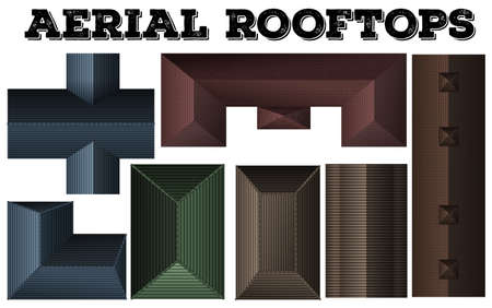 top view: Different design of rooftops illustration