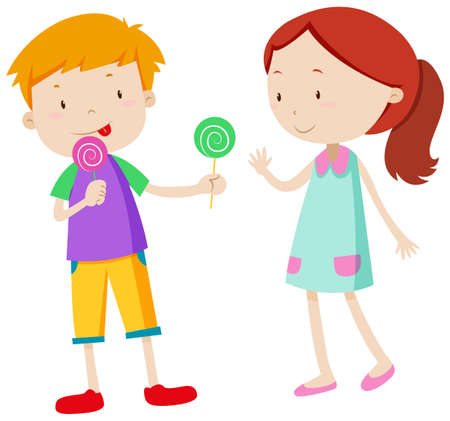 licking in isolated: Boy sharing candy with the girl illustration
