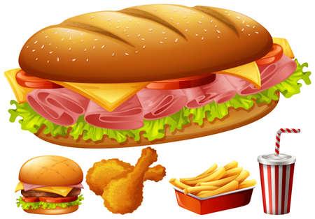 bocadillo: Diferentes tipos de alimentos ilustración