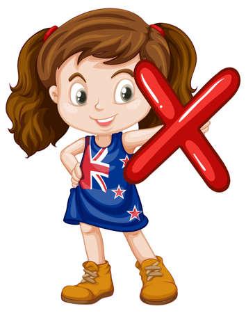 english ethnicity: Little girl holding letter X illustration