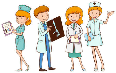 female doctor: Doctors and nurses with patient files illustration
