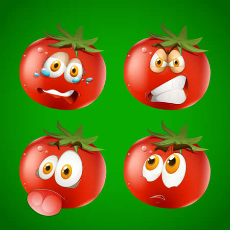 weeping: Fresh tomato with facial expression illustration