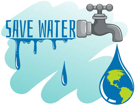 greenhouse effect: Save water theme with earth and faucet illustration
