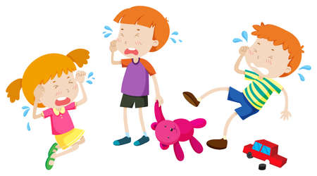 boy kid: Boys and girl crying illustration