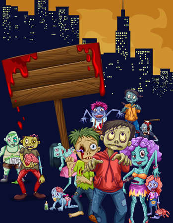ghost town: Zombies walking in the city illustration Illustration