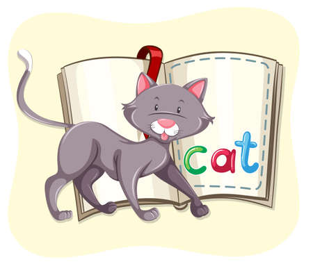 gray cat: Gray cat and a book illustration