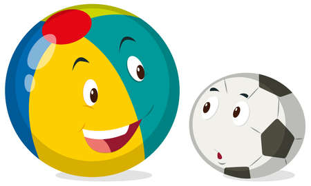 big and small: Round balls with happy face illustration Illustration
