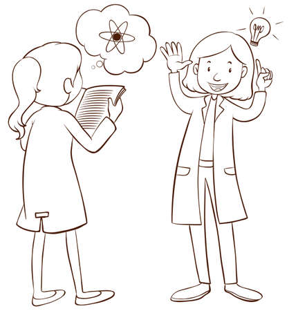Two scientists talking to each other illustration