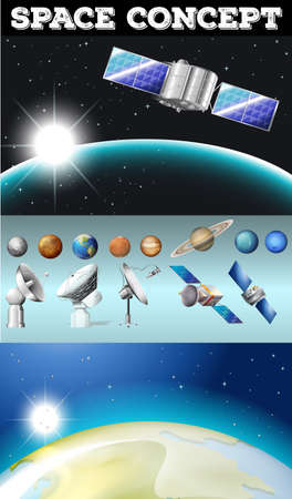 signal device: Planets in space and other objects illustration