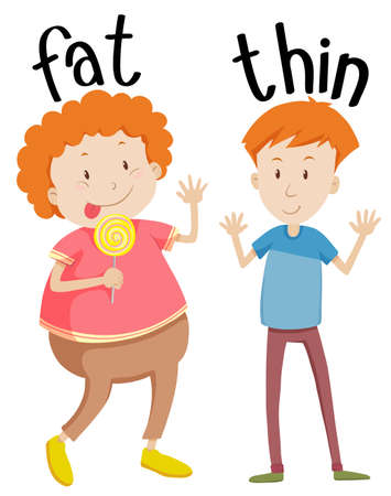overweight kid: Opposite adjectives fat and thin illustration